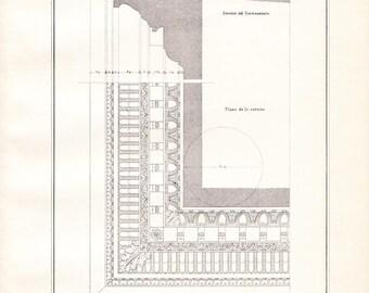1920s Vintage Architectural Print Vignola Composite Order Ceiling