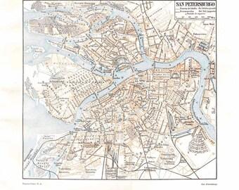 Saint Petersburg Vintage City Map Street Plan 1920s Russia