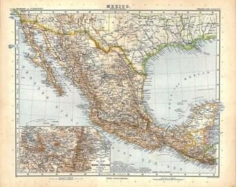 Antique Map Mexico Guatemala 1914 Engraving