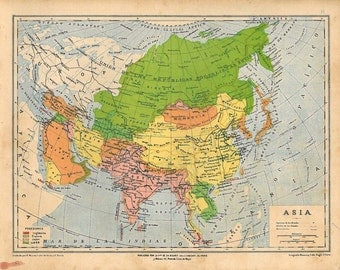 1929 Colorful Vintage Map of Asia
