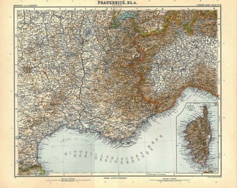 1912 Antique Map of France,  South-East France, Corsica, 100 Years Old , French Riviera,  Mediterranean Sea, Nice,  Marseille