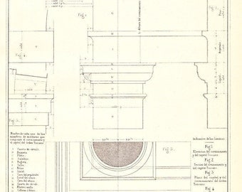 Vignola Architecture Drawing Tuscan Order Capital and Entablature 1920s
