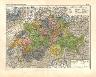 Switzerland Vintage  Map 1910s