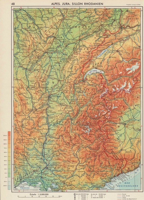 France Relief Map Vintage, Alps Jura Rhone Valley 1950s