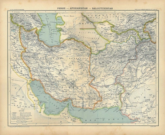 Vintage Map Persia, Afghanistan, Balutchistan 1889