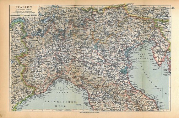 1928 Vintage  Map Nortern Italy Home Decor