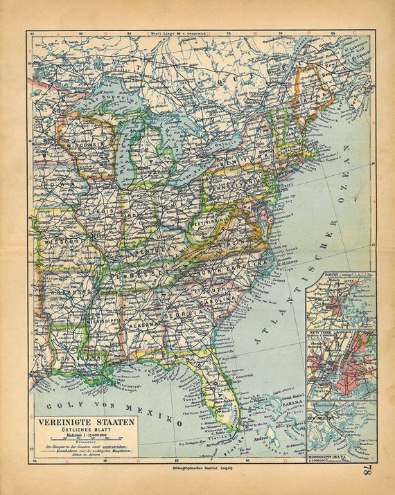 Vintage Map United States USA East  1928