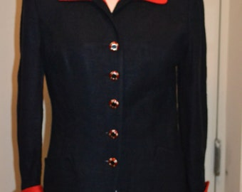 Gilmor / Navy Blue / Red Blazer / Two Tone Blazer / Size Medium