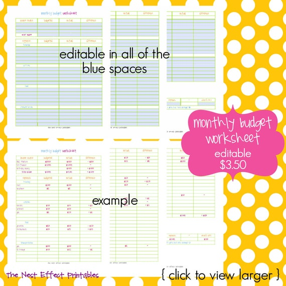 Monthly Budget Worksheet EDITABLE / FILLABLE PDF by TheNestEffect