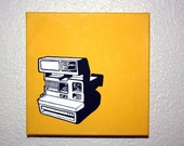 Vintage Polaroid Camera Painted on 8x8 canvas. black and white camera on pop yellow background