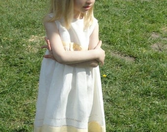 Linen White Sleeveless Dress for Girl with colored details and decorative handmade stitch at bottom