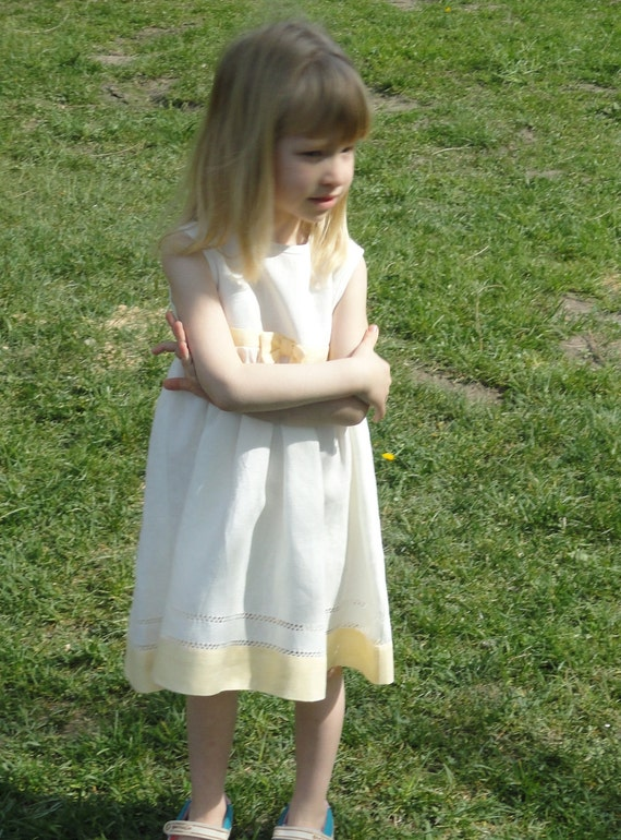 SUMMER SALE!!!  -20%  Linen White Sleeveless Dress for Girl with colored details and decorative handmade stitch at bottom/ Ready To Ship