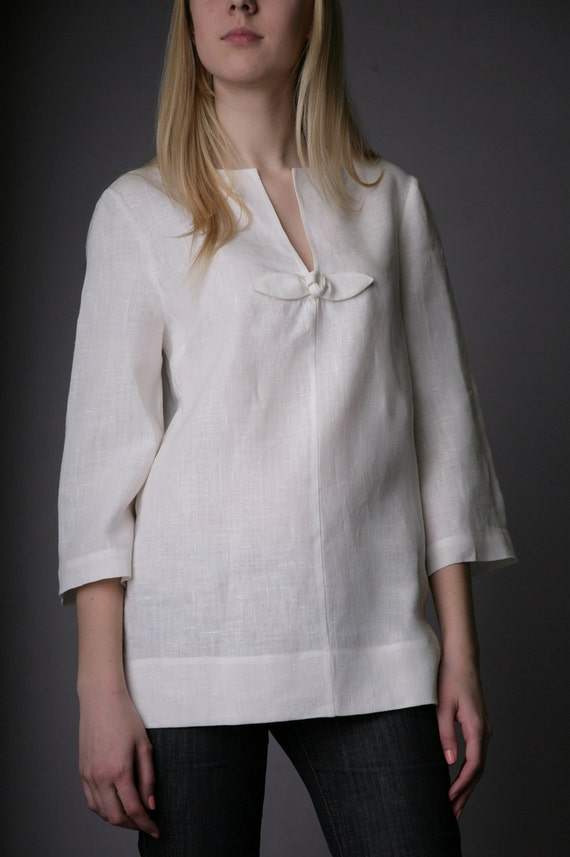 Pure Linen Tunic with Rose Decor