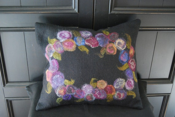 Floral Felted Pillow