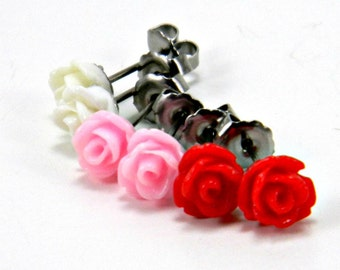 Valentine Earring Set  Trio of Pastel Pink, Crimson Red and Bright White Rose Flowers  Titanium Post Stud Earrings  Hypoallergenic Jewelry