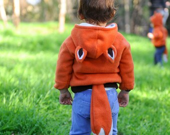 Fox Hoodie/ Childrens animal Hoodie/ Baby Fox/ Costume Hoodie /Fox Sweater/Gift for Toddler/ Fox Costume/ Gift for children