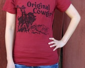 Organic Ink Original Cowgirl Hat's Off Red cowgirl riding horse Tee Free Shipping