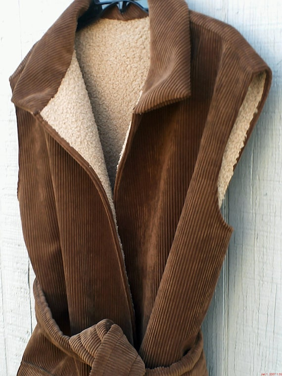 Reserved for Kylie  Plus Size Vest, 2X, Soft, Brown Corduroy , Womens Warm Winter Vest, Take 20% Off at Checkout!
