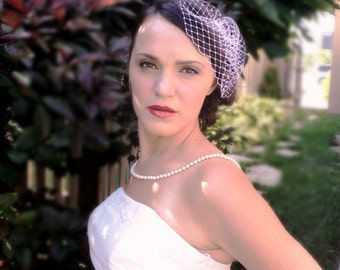 Bridal White or Ivory Veil Birdcage French Netting  Mini Blusher Wedding Accessories