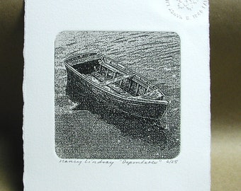 """Etching titled """"Dependable"""" old row boat intaglio print signed by artist"""