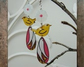 The Birds and White Lily - Handmade painted whimsical earrings