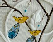 The Birds and the Flower Vase - Handmade painted whimsical earrings