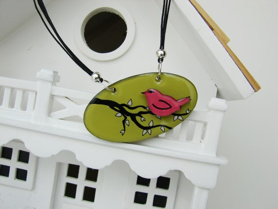 The Pink Bird on the Tree Branches- Handmade painted three dimensional whimsical pendant necklace
