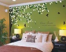 Nursery wall decal bedroom vinyl wall decals birds wall sticker wedding wall decal office living room wall decal-- branch with flying birds