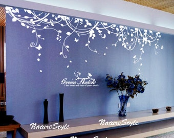 Abstract Flowers with Butterflies-Vinyl Wall Decal,wall sticker baby wall decal nursery wall decal girl room decal tree decal