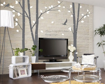 Nursery tree wall decal trees vinyl wall decal wall sticker baby room decoration- 3 Birch Tree with Flying Birds