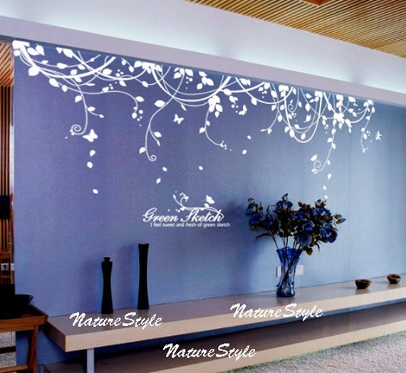 Abstract Flowers With Butterflies Vinyl Wall Decalwall