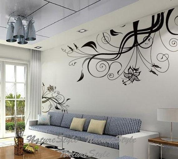 Nursery wall decal vinyl wall decals flower wall sticker decal - Ideas para pintar una pared ...