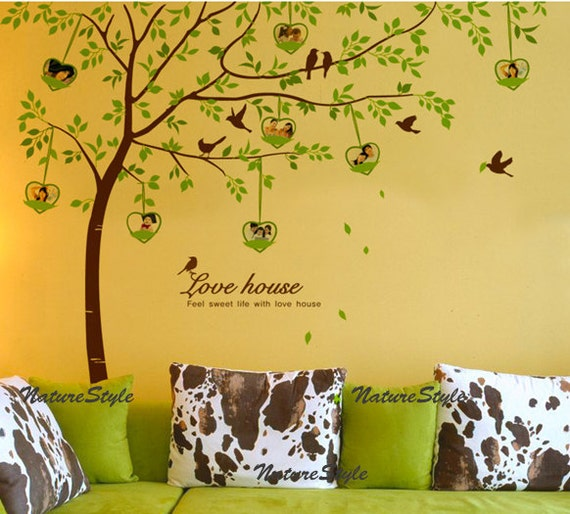 Tree with Flying Birds and Photo frames-Nursery wall decal children Nature Green  tree wall decal Tree Wall mural wall sticker vinyl mural