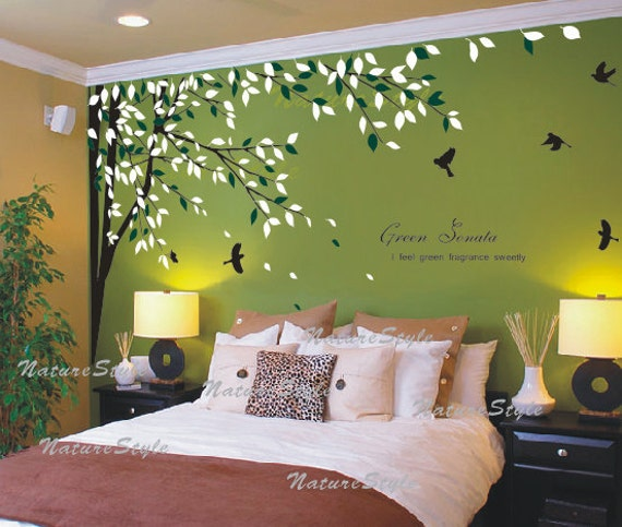 Nursery wall decal bedroom vinyl wall decals birds wall - Wall sticker ideas for living room ...