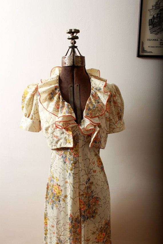 Floral Halter Maxi Dress and Cropped Jacket 1970s by Young Edwardian