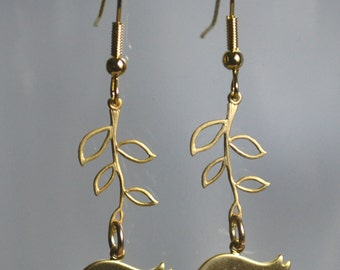Gold plated bird and branch dangle earrings