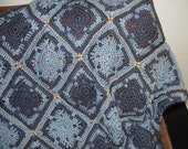 Waving The Blues Away granny square crochet blanket hand crocheted