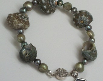 Shell and Freshwater Pearl Bracelet in shades of green.