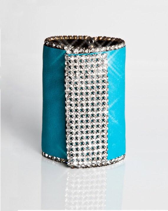 Teal Blue Secret Wallet, Rhinestone Arm Band, Scuba Blue, Satin Scarf, Turquoise Arm Bracelet, Money Cuff, Prom Purse, Formal Accessories