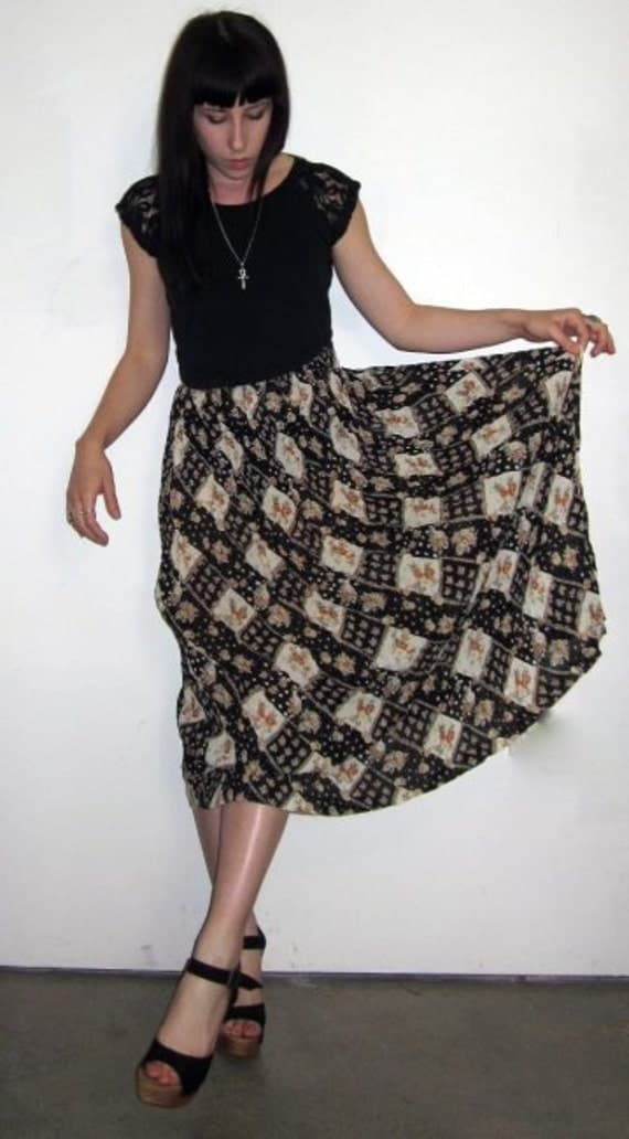SALE was 24 USD Vintage 80s Sheer Pleated Floral Skirt S/M