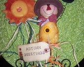 Primitive Whimsical Country Fall SCARECROW SUNFLOWER Plant Pokes Crock Fillers Ornies
