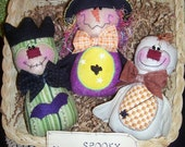Primitive Whimsical Country Halloween WITCH MONSTER GHOST Dolls Tucks Bowl Fillers Ornies