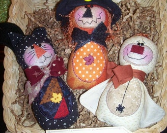 Primitive Whimsical Country Halloween WITCH GHOST CAT Dolls Tucks Bowl Fillers Ornies
