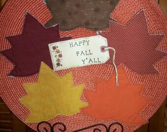 Primitive Country FALL MAPLE LEAVES Fabric Coasters Mug Mats Ornies