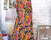 Vintage Dress . 1960s Floral Maxi Dress . Long Sleeve