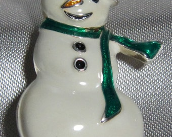 Hand painted vintage Snowman Brooch