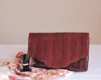 Vintage Bag, REPTILE purse, Snakeskin clutch, evening bag, 80s,70s, Retro, Brown, Evening Handbag, Small, Exotic