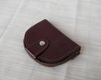 Vintage Lady's Burgundy Leather Coin Purse