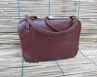 Vintage Lady's 1960's Little Brown Faux Leather Hand Bag