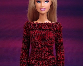 Hand knit doll sweater for: Barbie, Pullip, Momoko...